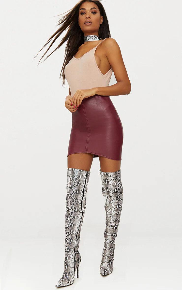 Maroon Faux Leather Asymmetric Panel Skirt